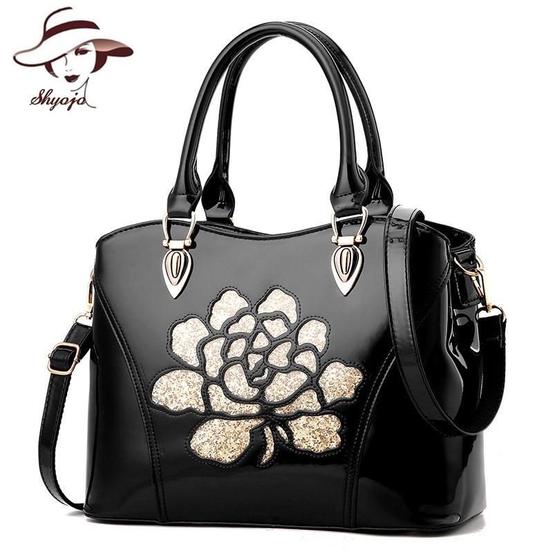New Luxury Women Patent Leather Bags Shining Powder Flower Hollow Out Messenger Bag Crossbody Tote Famous Brand Shoulder HandBag