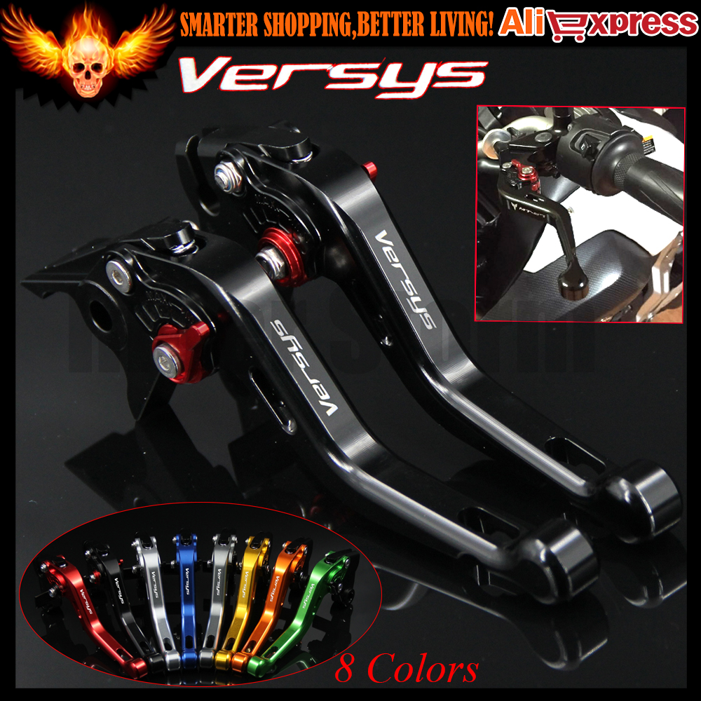 ФОТО Laser Logo (Versys) 8 Colors Black CNC Aluminum Motorcycle Short Brake Clutch Levers for Kawasaki VERSYS (650cc) 2006 2007 2008