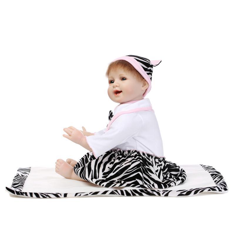 ФОТО Cute Soft Silicone Reborn Doll Toys Lifelike Doll 55cm BeBe Reborn Newborn Baby Toys 22inch Brinquedos For Baby Chirstmas Gift
