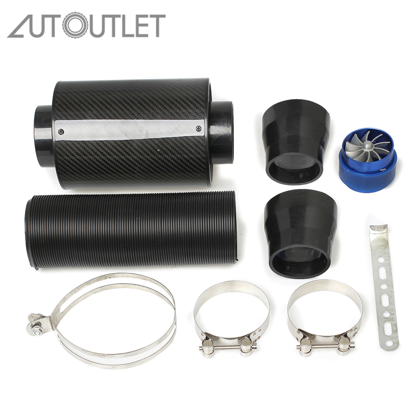 AUTOUTLET 3'' Universal Car Forced Cold Air Filter Feed Black Induction Fillter Intake Pipe Reducer Car Automobile Racing System universal racing carbon fiber cold feed induction kit carbon fiber air intake kit air filter box with fan