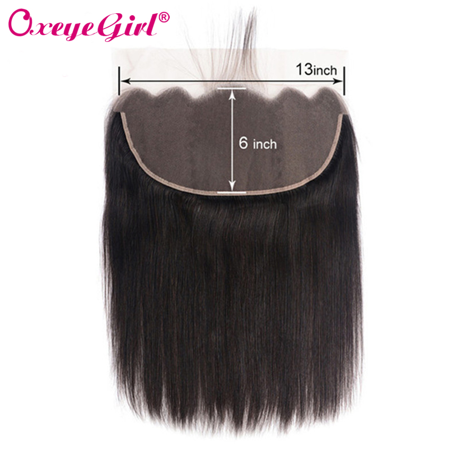 13x6 Lace Frontal Closure With Baby Hair Ear To Ear Lace Front  Brazilian Hair Straight Hair Bundles Remy Human Hair Oxeye girl-in Closures from Hair Extensions & Wigs    1