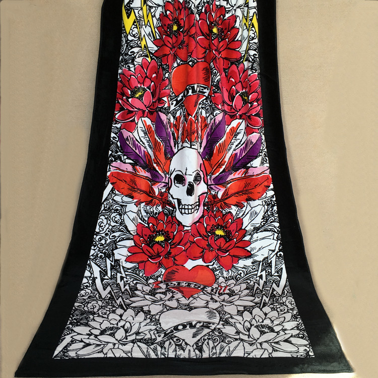 Jzgh 90 170cm Cool Skull Cotton Large Beach Towels For S Print Holiday Terry Bath Toallas De Playa T905 In From Home Garden