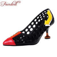 FACNDINLL 2018 New Genuine Leather Shoes Woman Pumps Sexy High Heels Pointed Toe Cut Outs Women