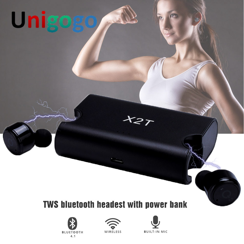 X1T & X2T Mini Bluetooth Headphones Cordless In Ear Earphone Twins Sport Wireless Earbuds Stereo MP3 Headset with Mic for Phone
