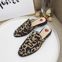 MIULAMIULA Brand 2018 Sexy Leopard Metal Chain Round Toe Flat Flock Slippers Woman Shoes Slip On Loafers Mules Flip Flops 35 40
