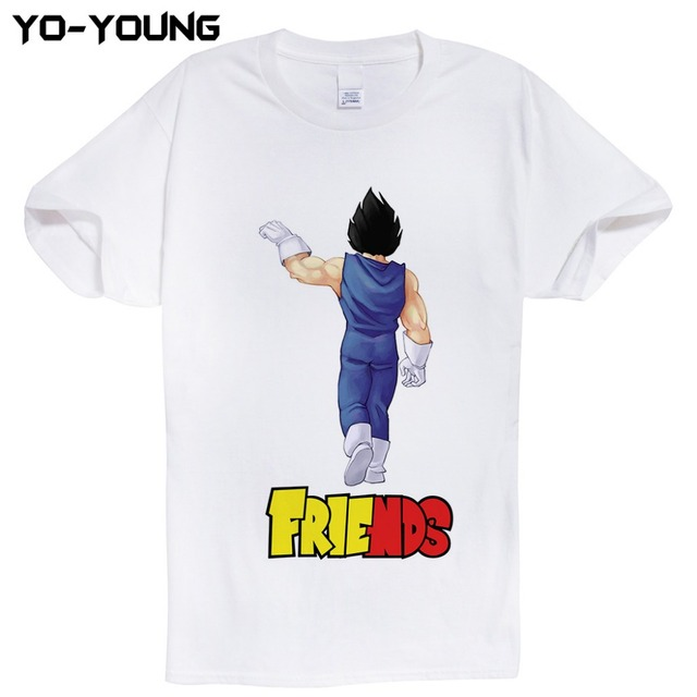 Anime Dragon Ball Best Friends PrintMen T-Shirts Goku Vegeta T Shirts 100% 180g Combed Cotton Top Tees Homme Customized