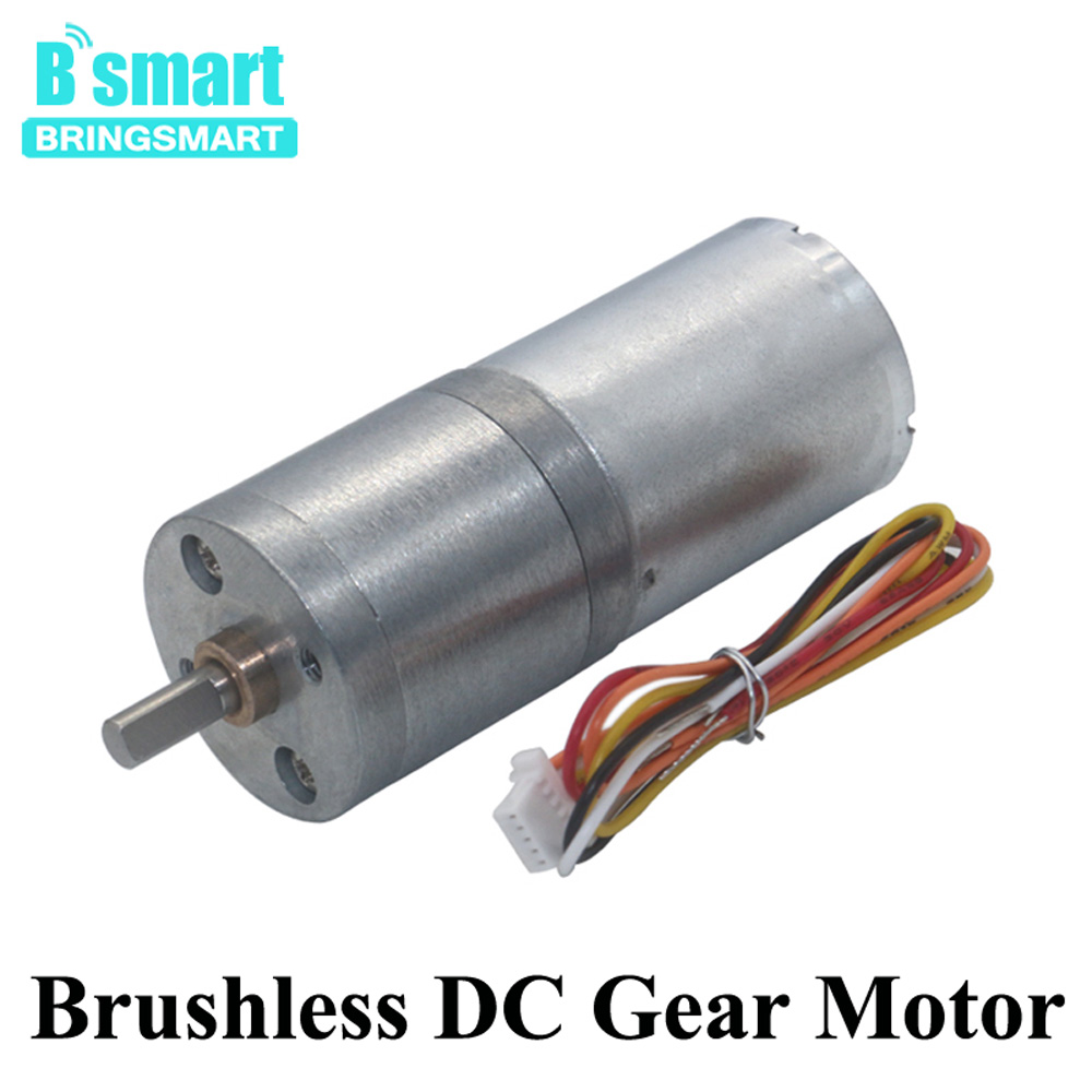 Bringsmart JGA25-2430 DC Brushless Motor 12~24V Gear Electric Motor 14~1550rpm with Brake Speed Control BLDC Motor Low Noise