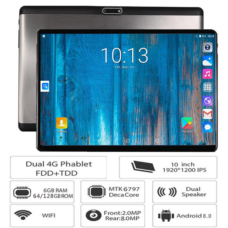 LTE Tablet Tempered-Glass 6GB-RAM Deca-Core 10inch 1920--1200 android 4G New 128GB Pc