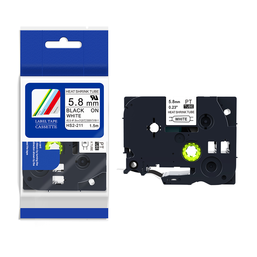 """10PK Heat Shrink Cartridge Label Black on White HSe221 For Brother P-Touch 3//8/"""""""