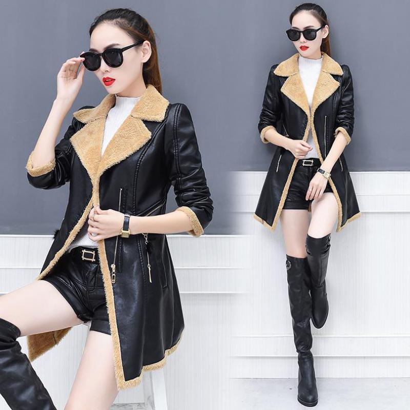Leather   jacket for women 2018 fashion plush coat PU   leather   jacket Female clothing Imitation rabbit fur winter fur coat woman