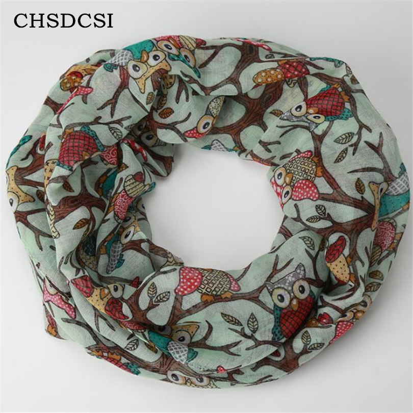 CHSDCSI Winter Shawl Women New Fashion Warm Flower Loop   Scarf   Ring   Scarves     Wrap   Warmer Face Mask Hat Female Owl Print Beanies