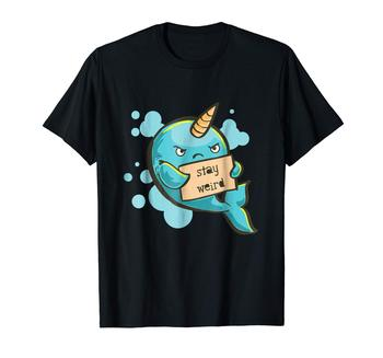 Camiseta con narval Stay Weird Camiseta de manga corta para hombres camisetas de verano moda única clásica de algodón para hombres camiseta