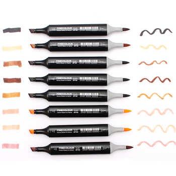 FINECOLOUR 12/24/36Color Skin Tones Soft Brush Markers Set Alcohol Based Sketch Marker Manga Professional Drawing Art Supplier