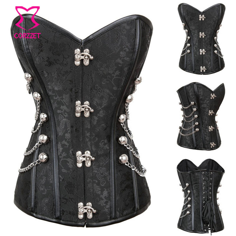 3-piece Black Sexy Corset Set Plus Size Corsets And Bustiers Gothic Clothing Victorian Steampunk Dress Burlesque Corset Dresses