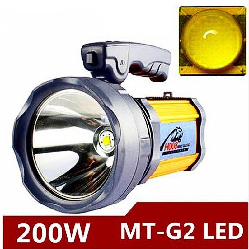 200 w Haute puissance portable lanterne rechargeable étanche Projecteur lampe de Bureau côté lumière US/EU chargeur batterie Intégrée