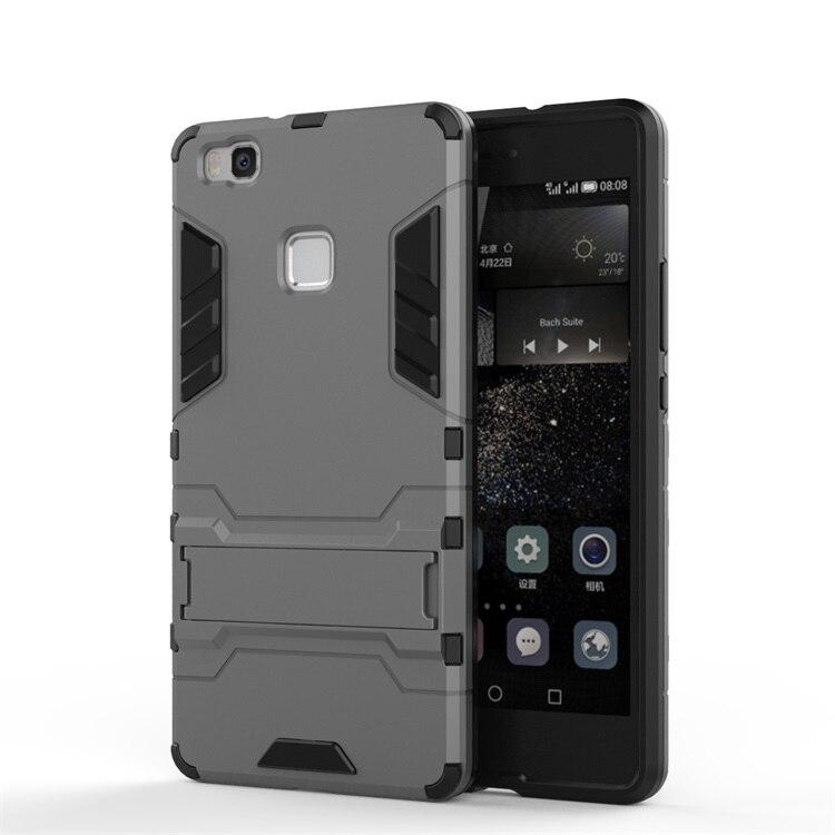 Anti-Knock Case Huawei P9 Lite Cover Soft Silicone + Plastic Case For Huawei P9 Lite Case G9 Lite Holder Stand Funda ≪{
