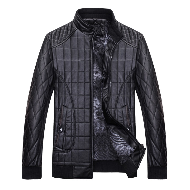 Pilot Leather Jacket Men 2018 Winter Thicker Quilted Jacket Casual Men PU Leather Motorcycle Jacket Slim Fit Mens Jackets Coats