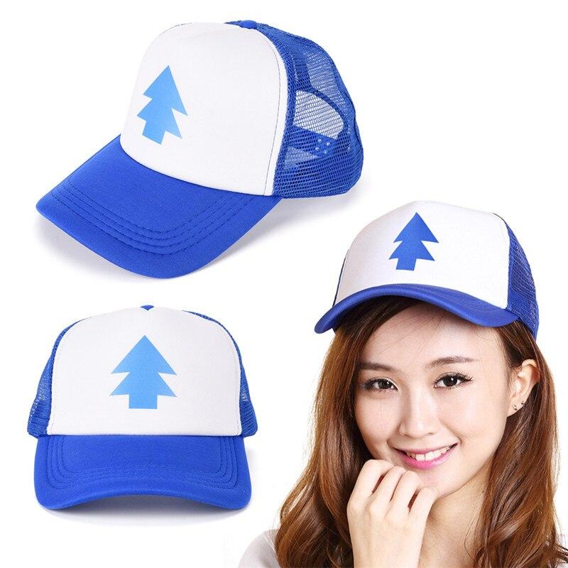 Gravity Falls   Baseball     Cap   BLUE PINE TREE Hat Cartoon Hip hop Snapback   Cap   New Curved Bill Dipper Adult Men Dad Hat