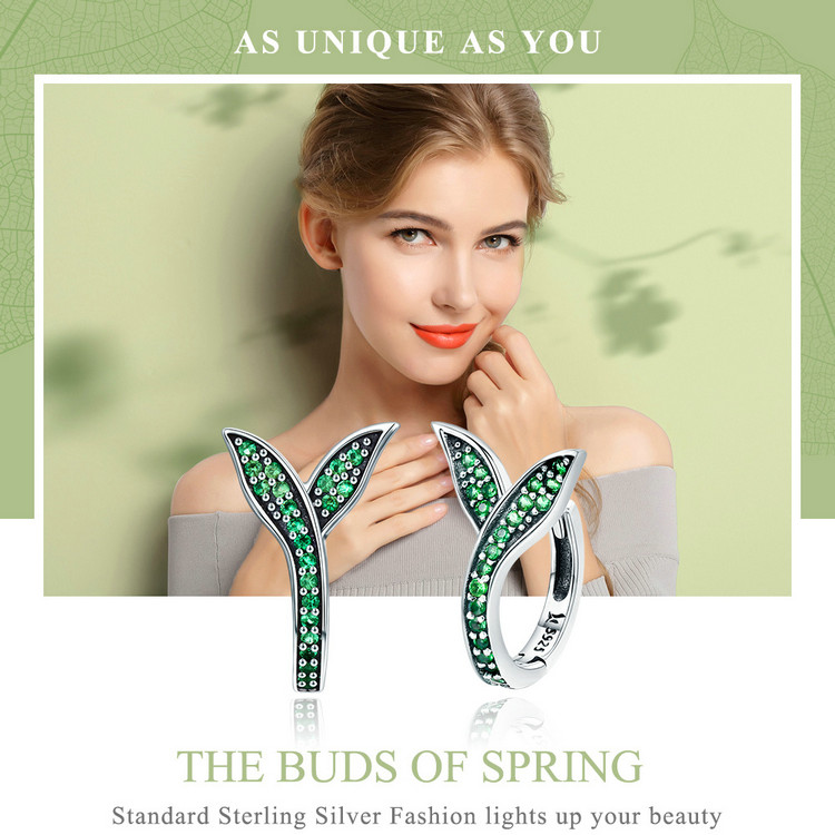 HTB1FYS7cXmWBuNjSspdq6zugXXal BAMOER 100% 925 Sterling Silver Spring Collection Flower Buds Green CZ Hoop Earrings for Women Sterling Silver Jewelry SCE295