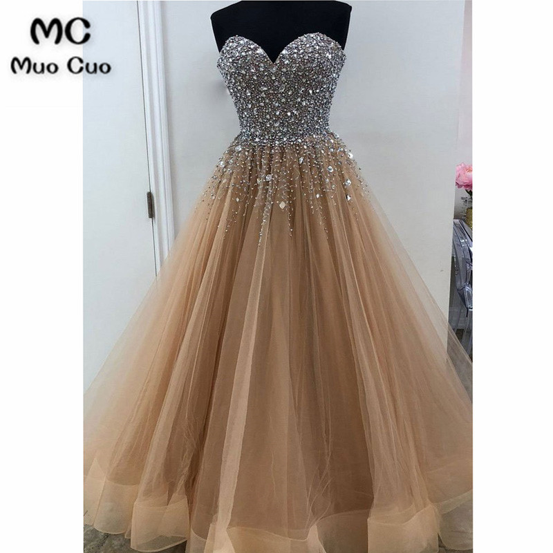 2018 Bling Bling A-line   Prom     Dresses   with Heavy Crystal Beads by Hand Sweetheart Tulle Brown Women Formal Long   Prom     Dresses
