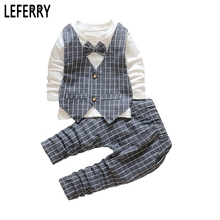 Nouveau Automne Enfants Vêtements Garçons Vêtements Ensembles Bébé Garçon Vêtements ensemble Garçons Vêtements Plaid Gilet Arc Cravate De Noce robes