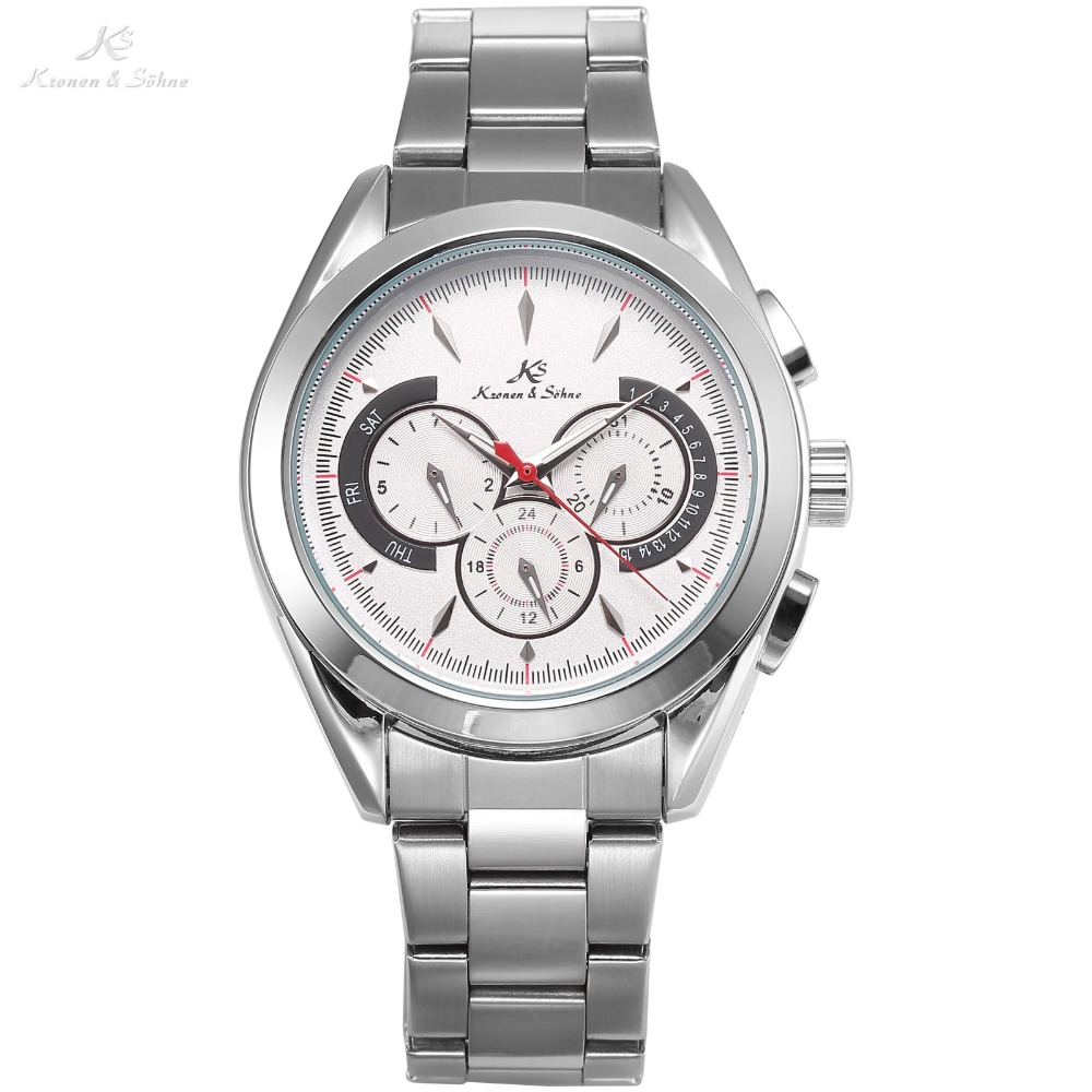 Navigator KS Luxury Brand Men Silver Date Day 24 Hours Display Steel Strap Automatic Self Wind Mechanical Wrist Watches / KS223 ks navigator series auto date day month display male leather strap clock white wristwatch men automatic mechanical watch ks178