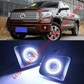 2x LED de Luzes Diurnas DRL luzes de Nevoeiro Lente Do Projetor + Angel Eyes Kits Para Toyota Tundra 2014-2016
