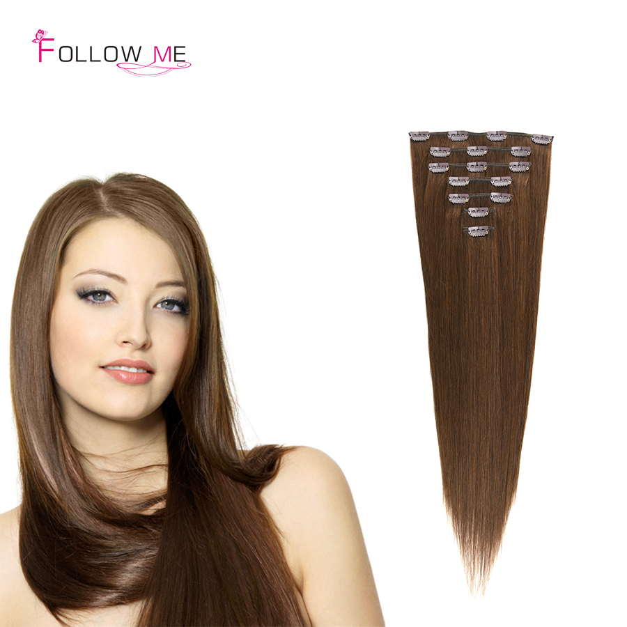 #4 MIddle Brown Peruvian Virgin Clip in Hair Extension 100% Real Human Hair Clip in Straight Double Weft Clip Hair Full Head