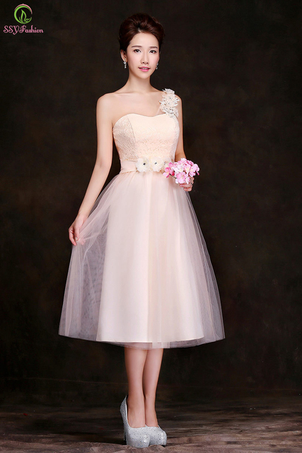 Bridesmaid Dresses 2015 New Champagne Lace Chiffon Medium-long Banquet  Formal Dress Bridal Married Plus Size Prom Dresses 15d491836ca0