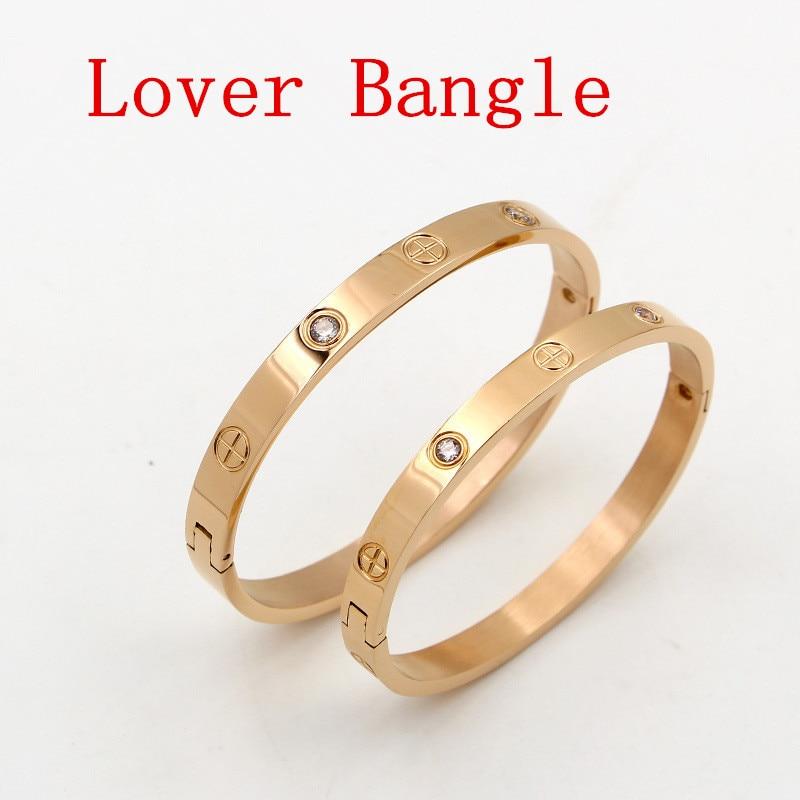 Fashion Jewelry Lover Couple Bracelet Stainless Steel Gold Color Cross Screw Bracelets & Bangles For Men Women Jewelry B008-1
