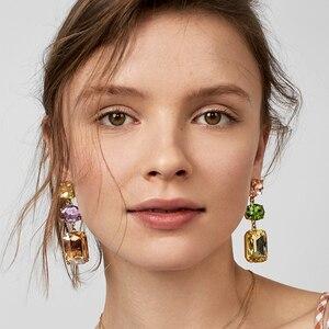FASHIONSNOOPS marki luksusowe ślubne dla nowożeńców kryształ Rhinestone oświadczenie biżuteria akcesoria kobiety wiszące wzór geometryczny kolczyki wiszące