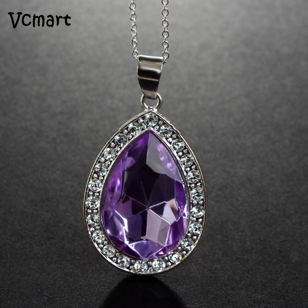 1Pcs Princess Sofia The First Chain Necklace Stainless Steel with Purple Teardrop Amulet Pendant teardrop faux crystal pendant necklace