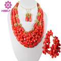Charme 2015 Nova Colar Miçangas Coral Set Jóias Wedding Nigeriano Beads Africanos Set Jóias Coral Best Selling CJ013