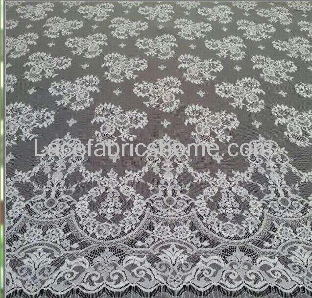 La Belleza 3 meters/pc Off wit, huid, ivoor Venetië geborduurde Franse wimper bruids kant stof 59X177 inches - 2