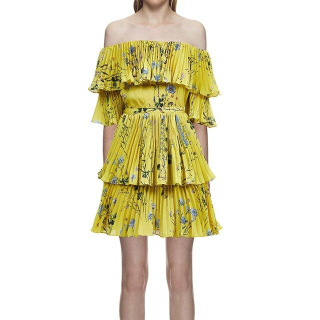 7ed3431191a Self Portrait Dress 2018 Women Summer Bohemian Sexy Off Shoulder Yellow Floral  Printed Pleated Beach Dress vestido
