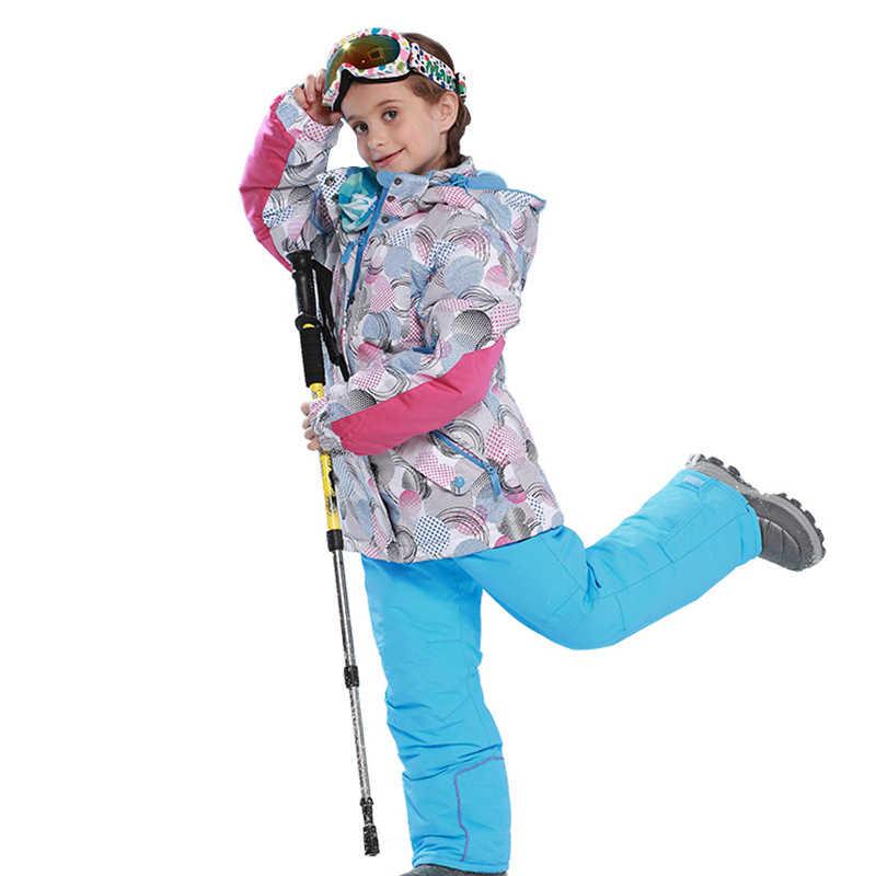 2109 зимние лыжные костюмы для девочек водонепроницаемые уличные сноубордические куртки зимние штаны детский лыжный костюм теплый жакет с капюшоном и ветрозащитный