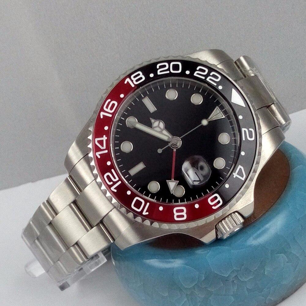 43 มิลลิเมตร bliger black dial GMT Red & black bezel sapphire คริสตัลอัตโนมัติ mens นาฬิกา P7-ใน นาฬิกาข้อมือกลไก จาก นาฬิกาข้อมือ บน   1