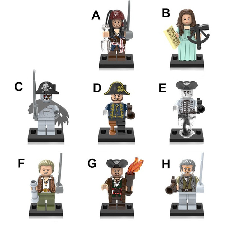 Caribbean Pirate Action Figures Compatible With LegoINGlys Toys Jack/William Mini Figures Building Blocks Kids Gifts ABS 4.5cm