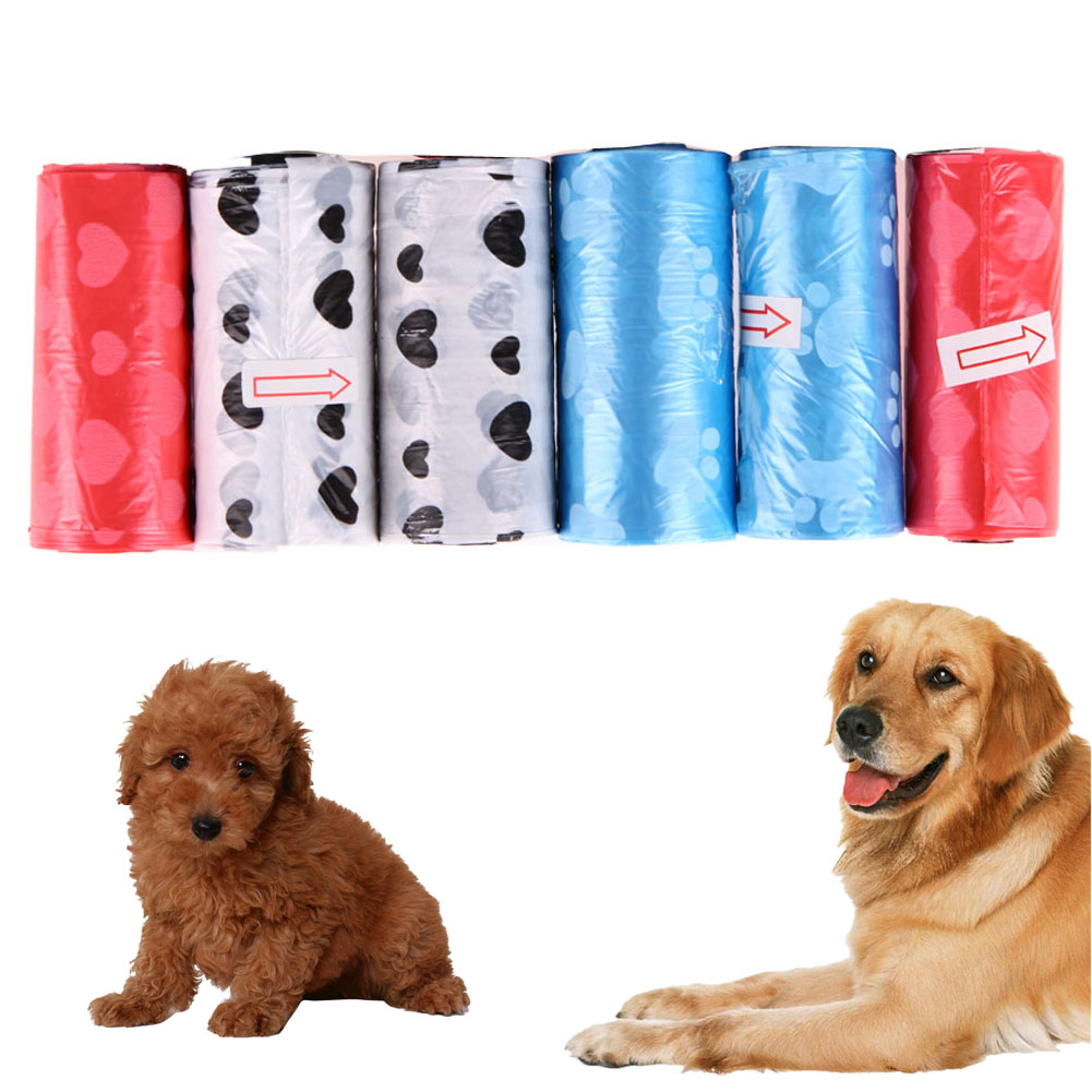 6 Rolls Dog Pet Poop Carrier Bag Biodegradable Doggy Garbage Trash Bags Dot Cat Waste Pick Up Clean-up Bag