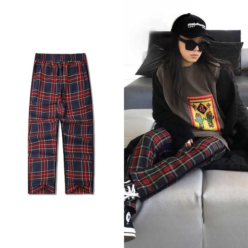 Ulzzang Vintage Plaid Pants Men And Women Streetwear Hip Hop Casual Pants 2019 Fashion Youth Red Tartan Pants