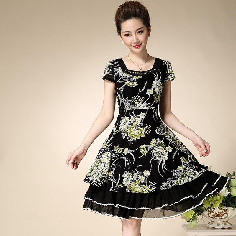 91ee2e3089 Ladies Summer Dress Middle Aged Woman Vintage Floral Print Short Sleeve  Knee Length Chiffon Dresses XXL Plus Size Women Clothing