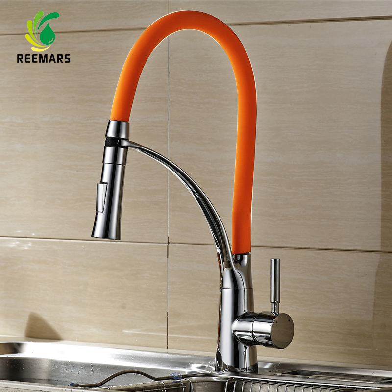 Genuine REEMARS 901 Kitchen Faucet Orange Soild Brass Polished Chrome Swivel Pull Down Spout Kitchen Sink