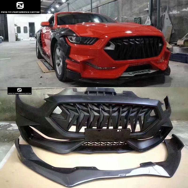 Wide Car Body Kit FRP Unpainted Front Bumper Carbon Fiber