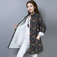 Autumn Winter Womens Tops And Long Sleeve Blouses Vintage Warm Velvet Floral Printed Shirts Plus Size Women Clothing