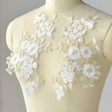 2pcs/lot Lace Applique With  Embroidery Mesh Trim DIY applications for clothes Wedding dress Supply