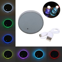 Waterproof Cup Holder Bottom Pad Mat RGB LED Light Trim For All Cars Models