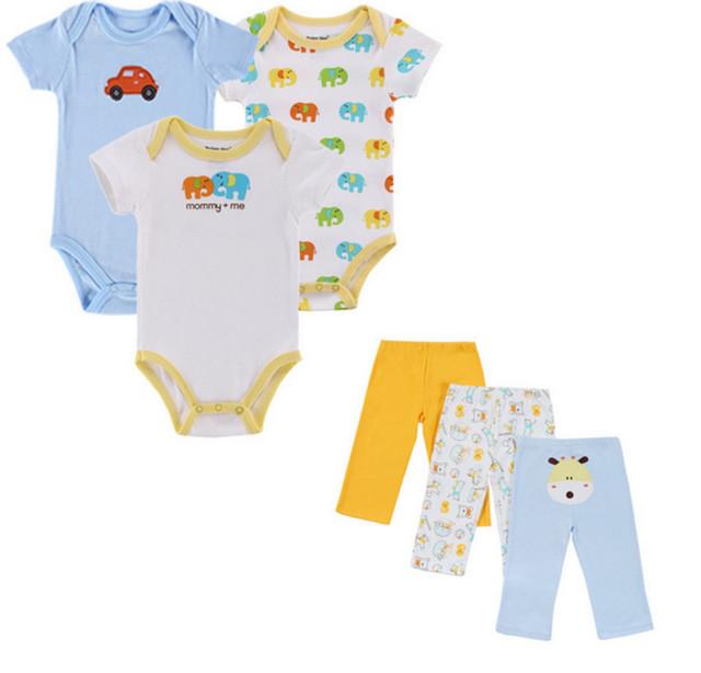 Bebê 6 PCS Conjunto Bebê Conjunto Roupa Da Menina Mangas Curtas Desgaste Do Bebê Primavera Outono roupas Casuais 100% Algodão Conjunto Romper + calças