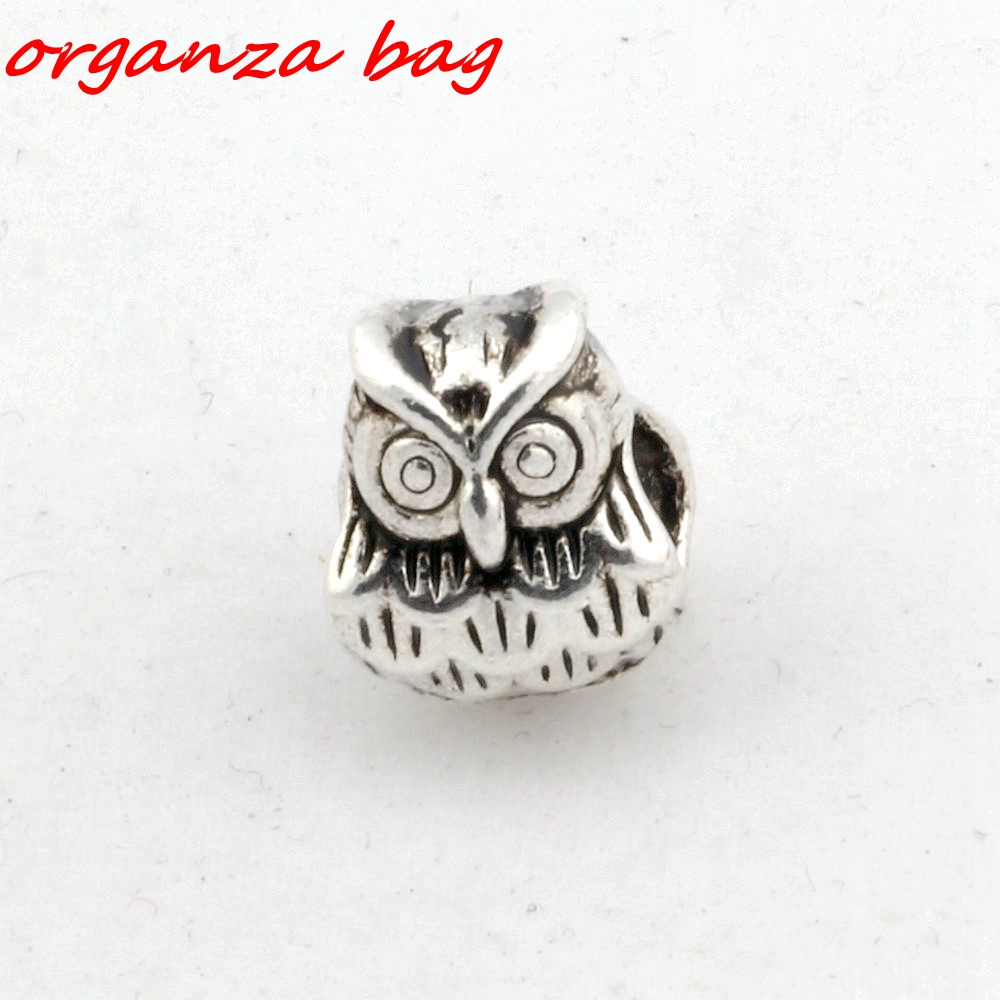 Hot Sell 10pcs Tibetan Silver Alloly Owl Large hole Spacer Beads Fit European Charms Bracelet 9x11mm