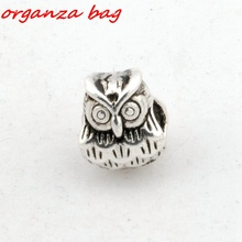 Hot Sell !  10pcs Tibetan Silver Alloly Owl Large hole Spacer Beads Fit European Charms Bracelet 9x11mm nm507