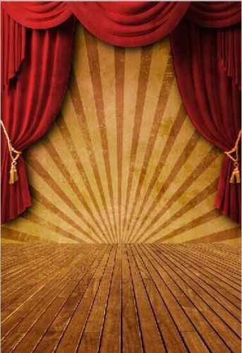 5x7ft Red Curtain Stripes Circus Stage Carnival Wooden